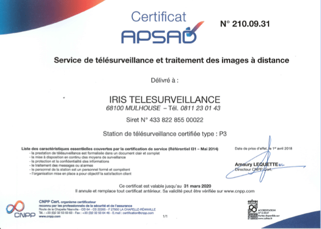 certificat APSAD